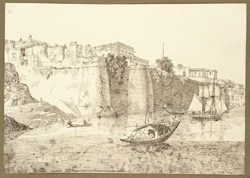View of the ruins of the Dutch Factory in the W. suburbs of Patna City (Bihar) showing the great revetments on the River Ganges. 17 November 1824.